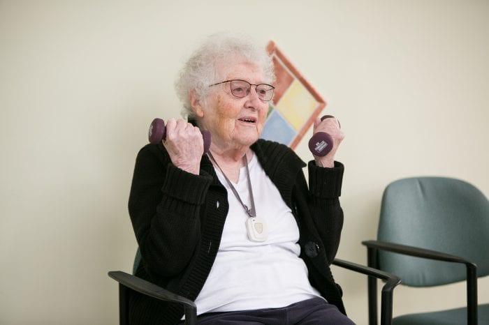 Elderly Woman Weight training