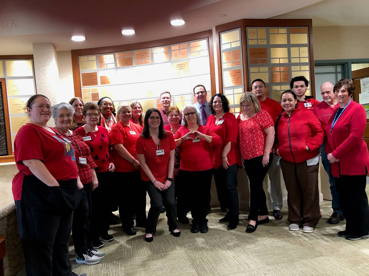 Staff Employees Wearing Red
