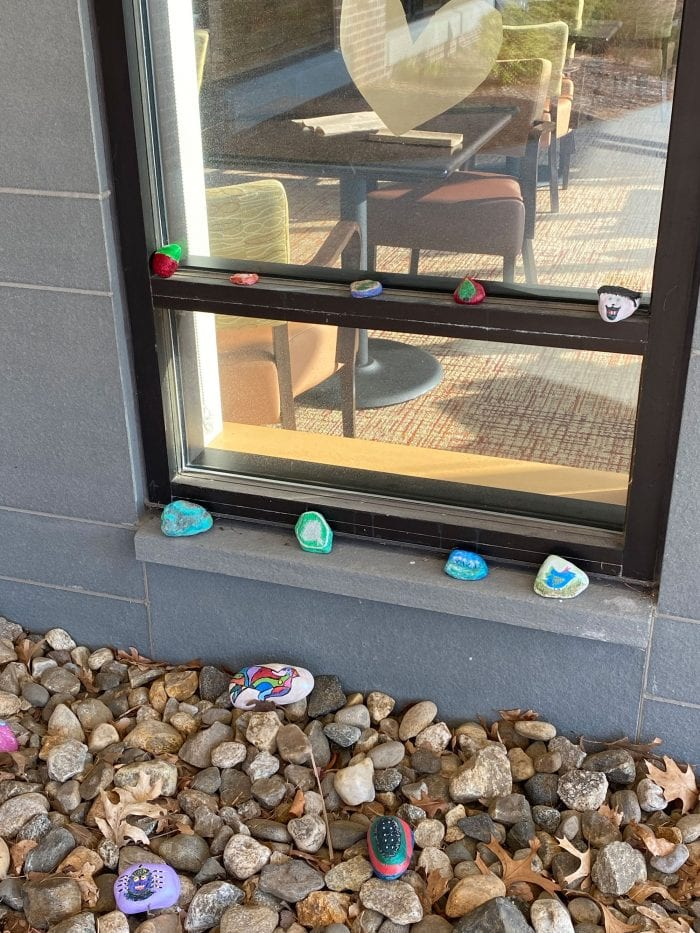 Janice Lawrence decorated a window sill with painted rocks