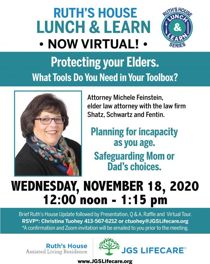Ruth's House Lunch and Learn Flyer with Attorney Michele Feinstein
