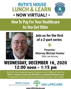 Ruth's House Lunch and Learn invite with Elder Law Attorney Michael Hooker