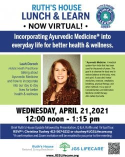 Ruth's House April 2021 Lunch and Learn flyer, featuring Leah Doroch, a holistic health practictioner