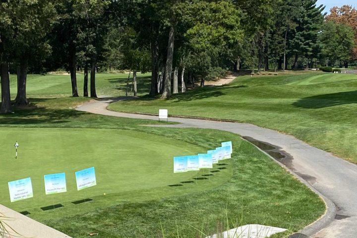Sponsorship signs on the golf course at the Frankel Kinsler Golf Tournament